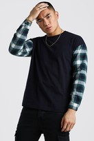 boohoo Mens Navy Oversized Long Sleeve T-Shirt With Check Sleeves, Navy