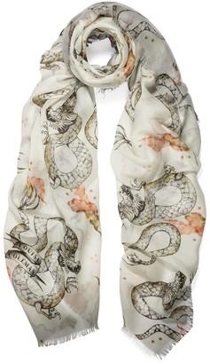 Louise Coleman Magic Dragon Ivory Silk Modal Scarf