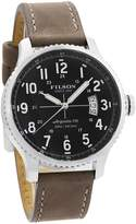 Filson Mackinaw Field F0120072834 Men's Quartz Watch Blue Dial Leather Band 43mm