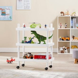 Mainstays Kids 3-Tier White Rolling Storage Cart, 1 Each