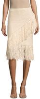 BCBGMAXAZRIA Varah Cotton Fringe Trimmed Pencil Skirt