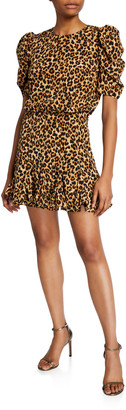Veronica Beard Lila Puff-Sleeve Leopard-Print Flounce Dress