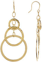 Argentovivo Gold-Tone Hammered Multi Circle Drop Earrings