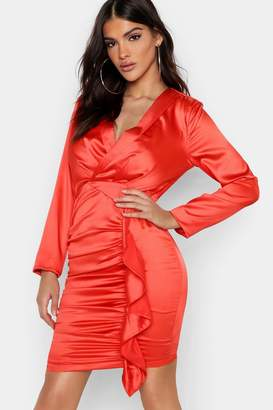 boohoo Satin Ruched Front Detail Dress