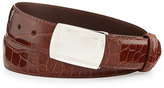 W.KLEINBERG W. Kleinberg Glazed Alligator Belt with Plaque Buckle, Cognac (Made to Order)