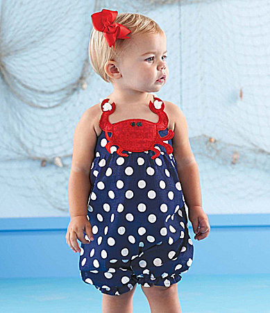 Mud Pie 6-18 Months Crab Dotted Bubble Romper