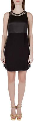 Rebecca Taylor Black Neoprene and Mesh Embellished Neckline Dress S