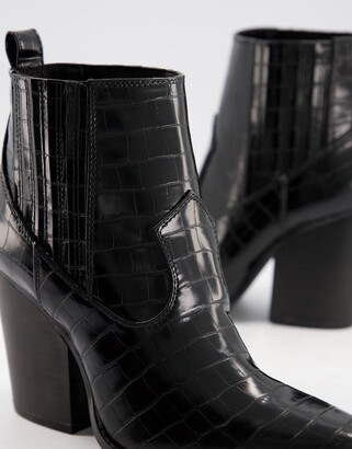 Qupid heeled western ankle boots in black croc