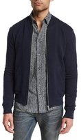 Maison Margiela Zip-Up Knit Bomber Jacket with Elbow Patches, Navy