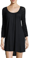 Eberjey Rosette Crochet-Sleeve Sleep Tunic, Black