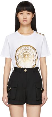 Balmain White 3-Button Coin T-Shirt