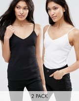 Asos The Strappy Rib Cami 2 Pack