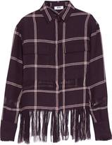 MSGM Fringed checked linen shirt