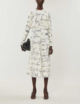 Victoria Beckham Signature-print crepe midi dress