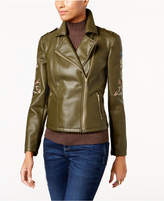 INC International Concepts Embroidered Faux-Leather Moto Jacket, Created for Macy's
