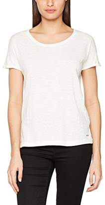 Tom Tailor Women's Basic Loose Fit Slub T-Shirt, Off- White 8005, Small