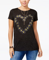 Hybrid Juniors' Daisy Heart-Print T-Shirt