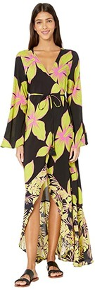Maaji Tale Of Tales Kimono Cover-Up (Artemis Lime Floral) Women's Swimwear