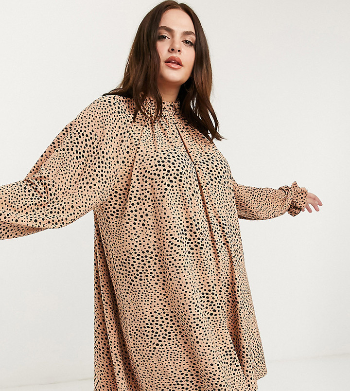 ASOS DESIGN Curve mini dress with frill neck spot swing dress in camel and black spot