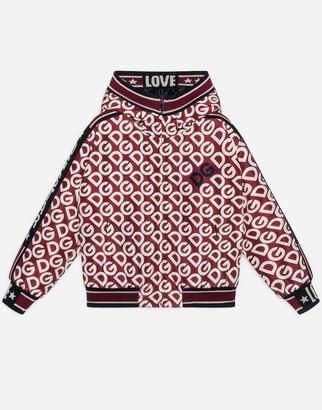 Dolce & Gabbana Hooded Nylon Jacket With Logo Print