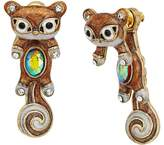 Betsey Johnson Brown and Gold Squirrel Front Back Earrings Earring