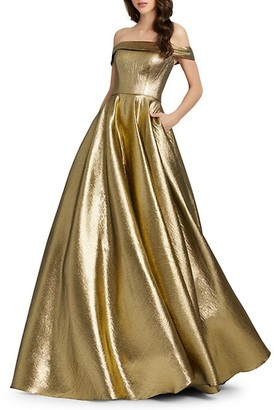 Mac Duggal Off-The-Shoulder Metallic Pleated Ball Gown