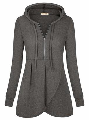 Women's Zip Hoodie Pullover Casual Long Sleeve Sweatshirt Lightweight Blouse Tops with Pockets Deep Grey Small
