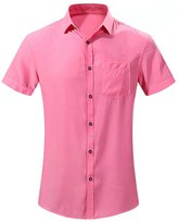 SK Studio Men's Linen Blend Solid Color Short-Sleeve Shirt