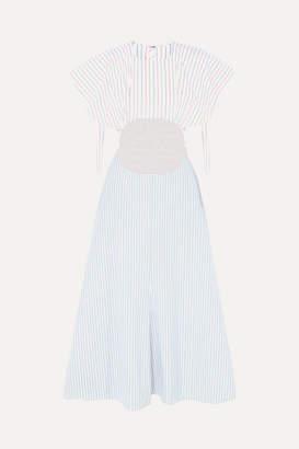 Rosie Assoulin Cutout Striped Cotton-poplin Midi Dress - Blue