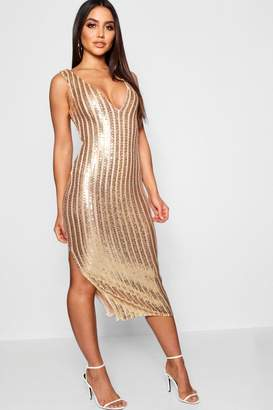 boohoo Sequin Stripe Midi Dress with Bodysuit