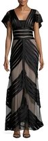 Temperley London Lilith Paneled V Neck Gown