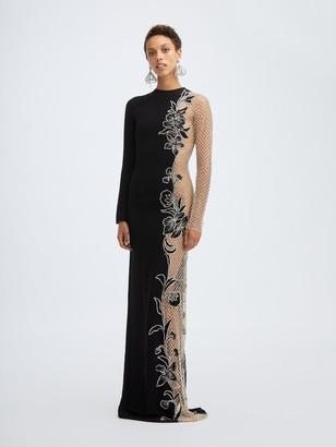 Oscar de la Renta Side Panel Crystal Embroidered Gown