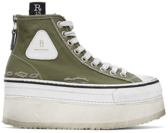 R 13 Green and White Platform High Top Sneakers