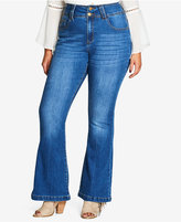City Chic Trendy Plus Size 70s Gal Dark Wash Flared Jeans