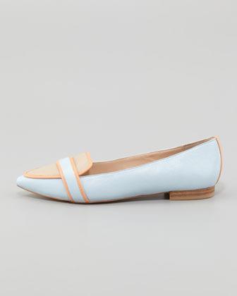 Pour La Victoire Bethany Tricolor Pointy Toe Flat, Blue/Orange/Beige