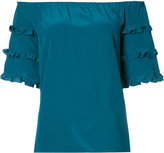 Vanessa Seward off the shoulder frill sleeve top - women - Silk - 36