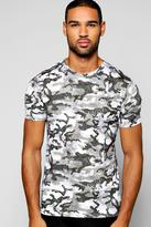 Boohoo Muscle Fit Camo Stretch T Shirt