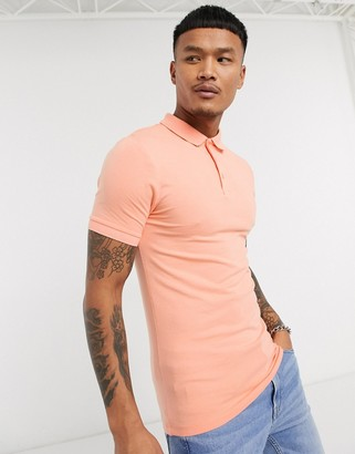 ASOS DESIGN organic muscle fit jersey polo in orange