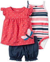 Carter's 3-Pc. Butterfly Top, Bodysuit & Bubble Shorts Set, Baby Girls (0-24 months)