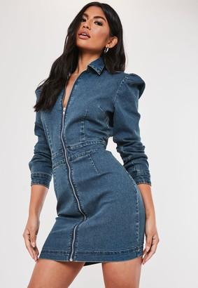 Missguided Blue Denim Puff Sleeve Zip Front Dress