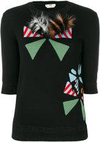 Fendi appliqué round-neck pullover - women - Wool/Polyester/Polyamide/Fox Fur - 40
