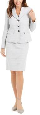 Le Suit Kasper Petite Textured Metallic Skirt Suit