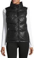 Marc NY Performance Puffy-Collar Chevron-Seamed Vest, Black