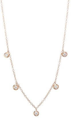 Ef Collection 14K Rose Gold 0.16 TCW Diamond Bezel Choker