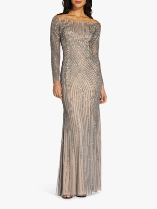 Adrianna Papell Beaded Bardot Maxi Gown, Sterling