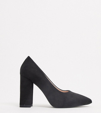Raid Wide Fit Neha block heeled shoes in black