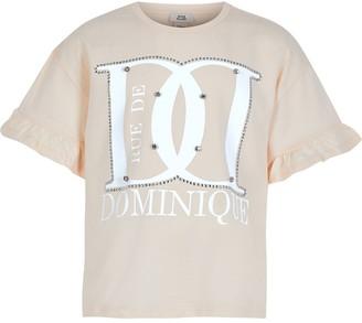 River Island Girls beige print ruffle sleeve T-shirt