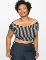 ELOQUII Plus Size Striped Short Sleeve Crop Top