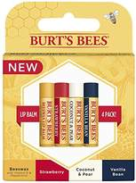 Burt's Bees 100% Natural Moisturizing Lip Balm, Multipack - Original Beeswax, Strawberry, Coconut & Pear and Vanilla Bean with Beeswax & Fruit Extracts - 4 Tubes