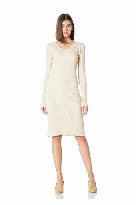 Plumberry Long Sleeve V-Neck Ribbed Knit Pullover Sweater Dresses for Women Brown